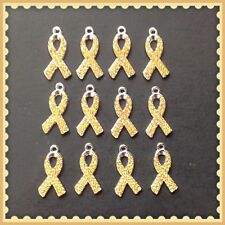 12 Gold Yellow Rhinestone Ribbon Cancer Awareness Charms Jewelry Bracelet DIY G6