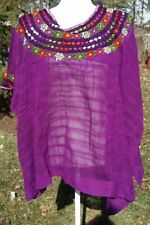 Huipil Mexican Blouse Top Sheer Embroidered Beach Chiapas One Size S M L XL A25