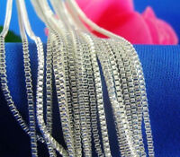 """Newly Wholesale Lots 5pcs 925 Sterling Silver 1.4mm Box Chain Necklace 16""""-24"""""""