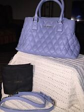 Vera Bradley Emma Satchel Bag Quilted Leather Chambray Blue