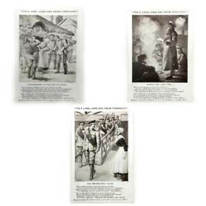 Vintage set of 3 It's a Long Long Way From Tipperary Ypres postcards WW1