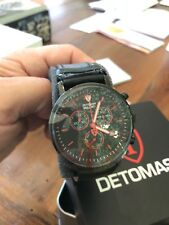 DETOMASO MILANO Mens Wrist Watch Chronograph Stainless Steel Black Leather AsNew