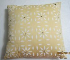 "SKY DECORATIVE PILLOW Yellow EMBROIDERED Flowers 18"" X 18"" Square 733003914806"