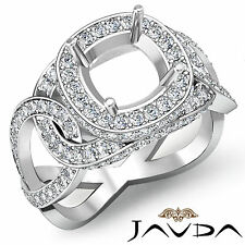 Diamond Engagement Designer Ring Halo Pave 14k W Gold Cushion Semi Mount 1.8Ct