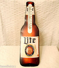 "RARE Lg Embossed Miller LITE Beer Thermometer TIN SIGN Pre ""MILLER"" Logo in Name"