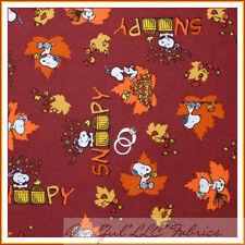 BonEful Fabric FQ Cotton Quilt Orange Pumpkin Fall Leaf Snoopy Peanuts Halloween
