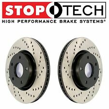 For BMW E60 E63 E64 535i 545i 550i Front StopTech Drilled Brake Rotors Set Pair