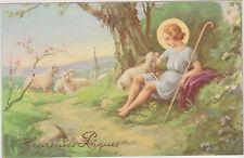 ANCIENNE IMAGE PIEUSE CARTE POSTALE PAQUES ENFANT JESUS/BREBIS/BATON DE BERG ER