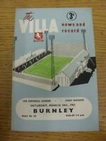 24/03/1962 Aston Villa v Burnley  (Crease, Folded). Thanks for viewing this item