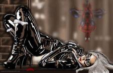 Black Cat allure spiderman Marvel comics art suit 11x17 signed print Dan DeMille