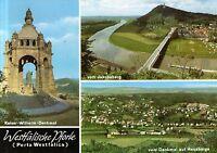 32457 Porta Westfalica  -  Kaiser-Wilhelm-Denkmal - Weserbogen mit Brücke - 1985