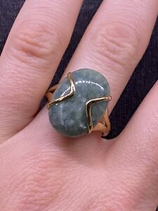 Jade Ring On 9ct Gold Band Size S Statement Piece