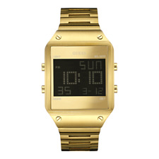 New Guess Men U0596G3 Multifunctions Digital Dial Stainless Gold IP Band Watch