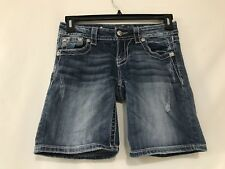 Womens Miss Me Signature Denim Mid Jean Shorts Sz 26 Waist 30""