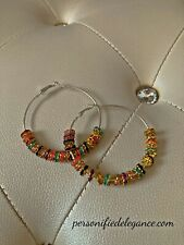 Hoop Jewel Accent Earrings New Multicolored Crystal Large