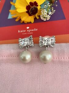 Kate Spade New York 'le soir' bow and pearl drop dangle earrings silver ivory