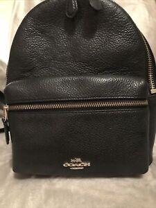 Coach Charlie Pebble Leather Backpack, Mini- Black