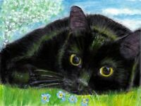BCB Black Cat Forget Me Not Flowers Tree Print of Painting ACEO 2.5 x 3.5 Inches