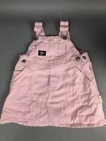 OshKosh Baby Girl 12 Month Pink Vestbak Dress Denim Pinstripe Railroad Bibs