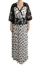 Dolce & Gabbana Dress Gown Black White Polka Dotted Floral It40 / Us6