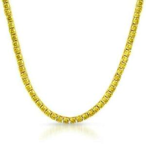 Bling Bling Lemonade 4MM CZ Gold Stainless Steel Tennis Hip Hop Chain Iced Out