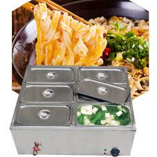 7L 6-Pan Steamer Food Warmer Steam Bain-Marie Buffet Countertop Table 850W Usa