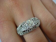 1 CARAT T.W. BEAUTIFUL WIDE FILIGREE DIAMOND RING 14K WHITE GOLD 8.0 GRAMS