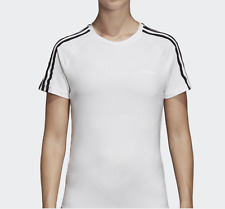Adidas Women D2M 3-Stripe Tee Training S/S White T-Shirts Run GYM Jersey DS8723