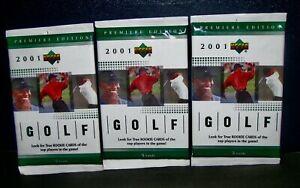 2001 Upper Deck Golf Pack LOT (3) NEW Sealed MINT PGA Tour TIGER WOODS Rookie?