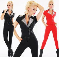 Overall Partyoverall Damen Jumpsuit mit Glitzersteichen und Zips