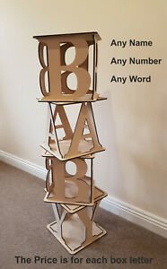 Large Wooden Cubes Hollow BABY Birthday Wedding Any Name / Letters Mr & Mrs ect