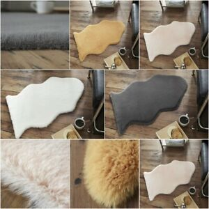 Fluffy Rugs Plain Rabbit Skin Super Soft Faux Fur Home Decor Living Room Mats GC
