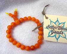 "Nwt Better World Goods Orange Karma Bead Bracelet Stretch 8"" 1/4"" Beads"