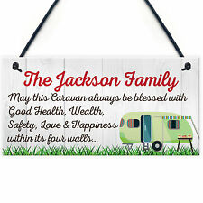 Red Ocean Personalised Bless This Caravan Hanging Plaque Family Name Camper Van
