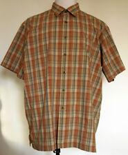 L.L. Bean Polyester Seersucker Brown Plaid Button-Up S/S Vented Shirt XL