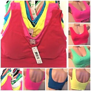 3- 6 Sport Bras Yoga Activewear Workout Seamless TOP CAMISOLE MISS PLUS SIZE LOT