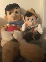 Pinocchio Plush Stuffed Figures Vintage Rare Lot Of 2 Disney Store