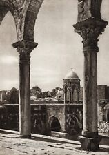 1925 Vintage JERUSALEM Temple Column Architecture ISRAEL Palestine Photo Art