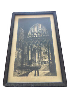 "Antique Signed Etching  -  George A Reynolds - ""St. Paul's Cathedral"""