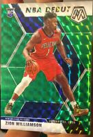2019-20 Panini Mosaic ZION WILLIAMSON NBA Debut GREEN PRIZM ROOKIE RC #269