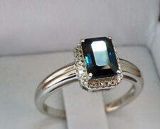 1ct Natural Blue Sapphire & 1/5ct Diamond Emerald-Cut Halo Ring 14k Gold Sz 678