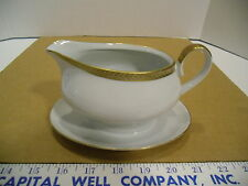 Ba Aria German Porcelain Off White and Gold Trimmed Plated Gravy Sauce Bowl, EUC