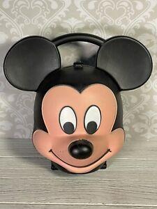 ++ Vintage Walt Disney Mickey Mouse Head Plastic Lunch Box byAladdin