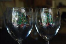 "Set 2 CRISTAL D'ARQUES-DURAND Christmas Noel Wine Glass 7-1/4"" Goblet Stemware"