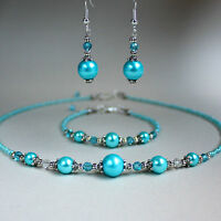 Turquoise blue pearl crystal collar necklace bracelet earring silver wedding set
