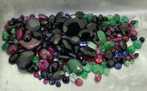 mixed lot of sapphire ruby emerald 55.38ct natural loose gemstones