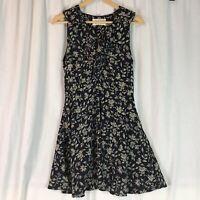 J.O.A Sleeveless Chiffon Ruffle Neck floral print dress navy blue size Large