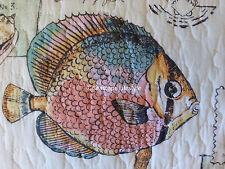 ☆ TROPICAL FISH ☆ Twin Quilt SeaShells Starfish Nicole Miller Coastal