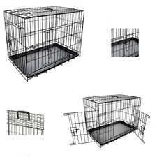 "Dog Pet Training Transport crate Fold Flat cage Removable Tray Medium 30"" UKDC"