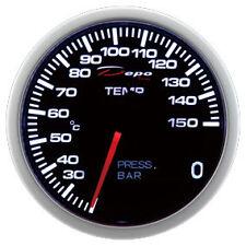 Manometro Strumento 60mm DEPO 2x1 Temperatura + Pressione Olio / Acqua Nero